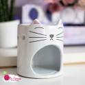 Brûle-parfum Tête de chat - Blanc